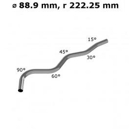 Rura gięta ⌀ 88,9 mm ze stali nierdzewnej AISI 304, promień gięcia 2,5 ⌀