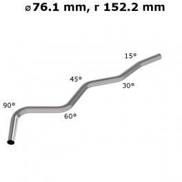 Rura gięta ⌀ 76,1 mm ze stali nierdzewnej AISI 304, promień gięcia 2 ⌀