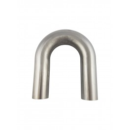 Kolano gięte 180°, pojedyncze gięcie rury ⌀ 76,1 mm ze stali nierdzewnej AISI 304, promień gięcia 2 ⌀